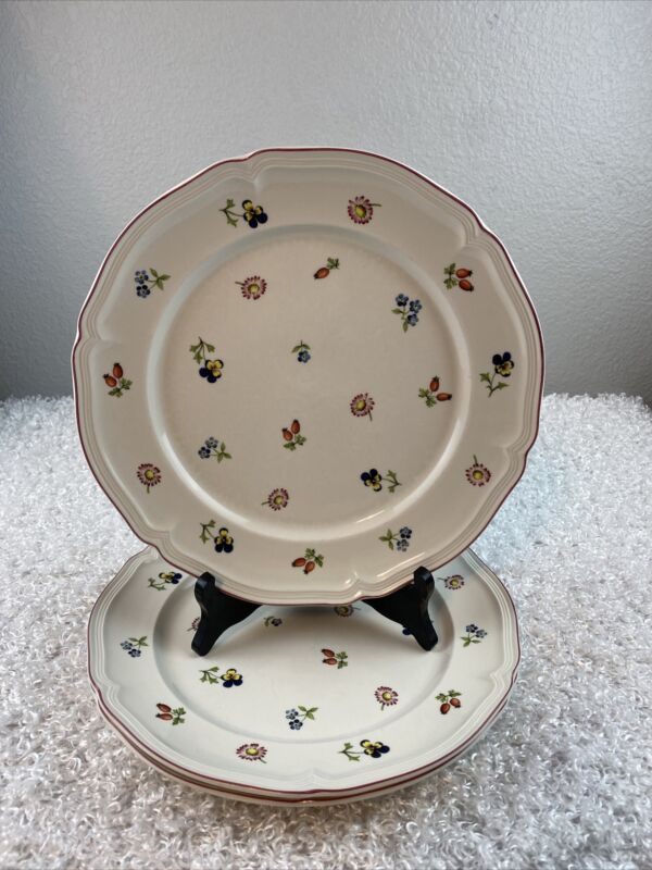 "Villeroy & Boch Petite Fleur Vitro Porcelain Floral Set of 2 Dinner Plate 10.5"""