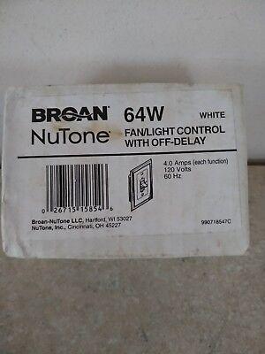Broan Nutone Bath Fan Control 64w White Fanlight Control With Off-delay
