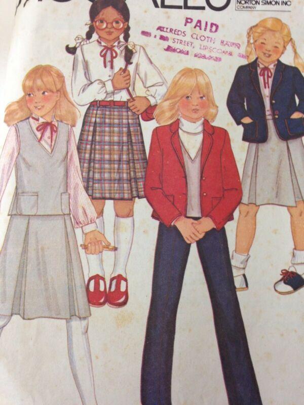 McCalls 6769 Vintage Sewing Pattern girls Jacket Vest Skirt Pants Size 12 1970s