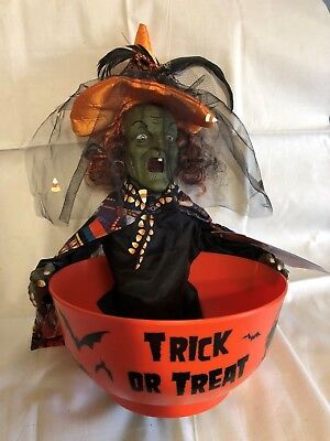 Halloween Animated Witch Candy Bowl Remade w/ Alexander Henry Fabric Orange Hat - Alexander Henry Halloween Fabric
