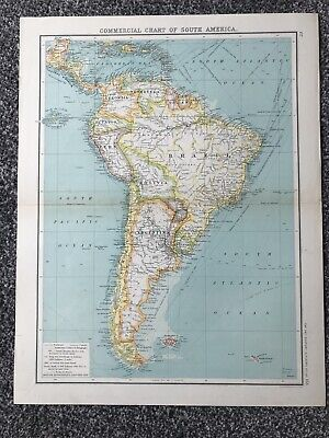 """Retro """"Commercial Chart of South America"""" Map (35 X 45cm)"""