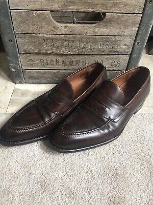 BONTONI men's dress shoes penny loafers antique brown sz US 10 1/2