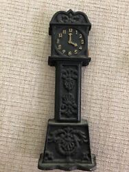 Vintage cast iron grandfather clock bank 9 black gold
