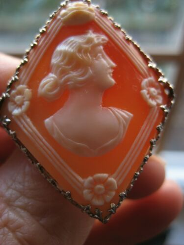 Antique Edwardian Rare Ostby Barton Shell Cameo 14k White Gold Filigree Mount