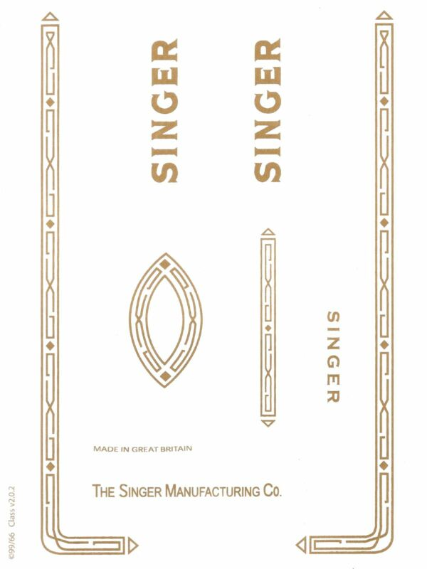 Singer Model 99K Sewing Machine Waterslide Restoration Decals 40465