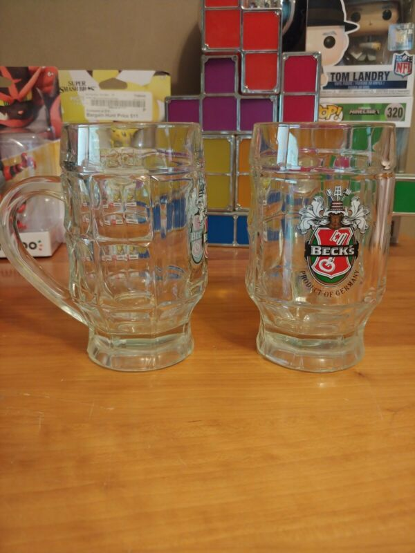 BECKS Beer DIMPLED MUG Set 0.25L Glass Glasses Mugs Excellent LN