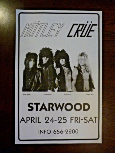 Vintage Motley Crue Starwood Paper COPY Poster Show Tour April 24-25 1981 11x17
