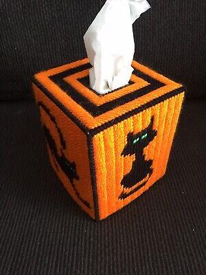 Halloween Cats Handmade Plastic Canvas Tissue Box Cover - Halloween Tissue Box Cover