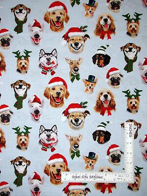 Christmas Humor Puppy Dog Selfies Cotton Fabric Elizabeths Studio By The Yard ()