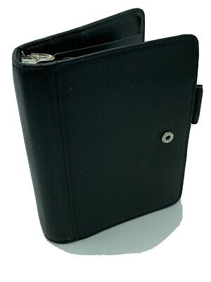 Franklin Covey Quest Black Pebbled Leather 6 Ring Plannerbinder Snap Closure