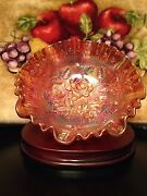 Amber Carnival Glass Footed Bowl
