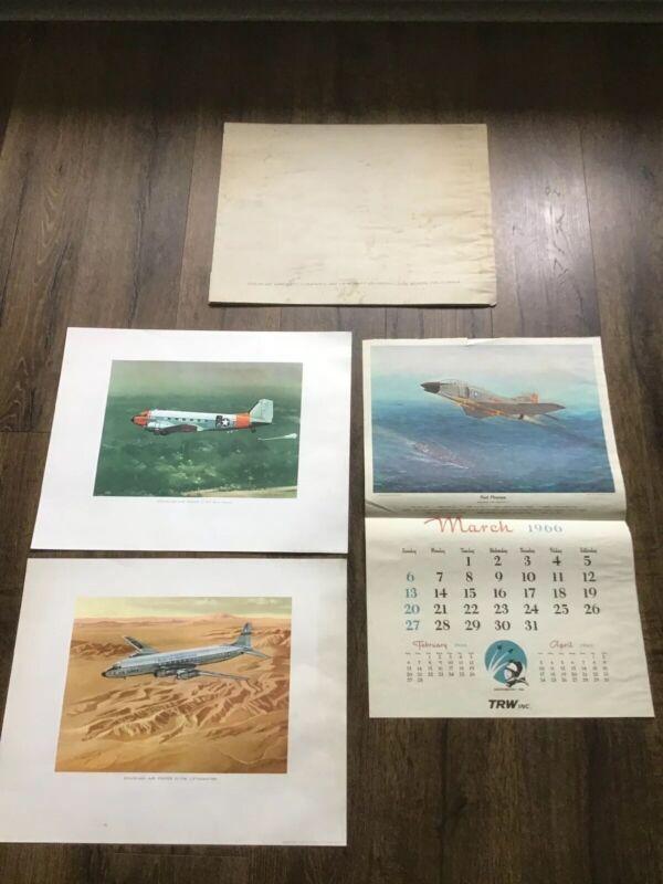 Douglas Military Aircraft Lithograph Prints 16X20 1964 C-118 C-47 USAF Air Force