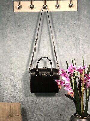 Kate Spade Black Leather Satchel Handbag Short And Long Strap Preowned