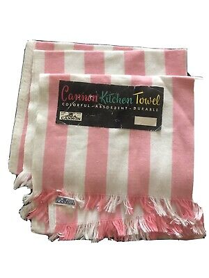 NOS (2) Vintage CANNON 50's KITCHEN TOWELS ~ DEADSTOCK Pink And White Stripe 27""