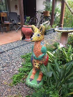 Life size hand mosaiced concrete kangaroo with joey