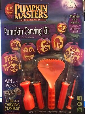 HALLOWEEN PUMPKIN MASTERS CARVING KIT 5 TOOLS  + 10 PATTERNS NEW - New Halloween Pumpkin Carving Patterns