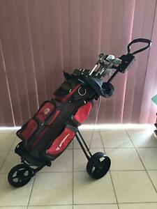 Brosnan 3 Wheel Golf Buggy with Bag and Clubs