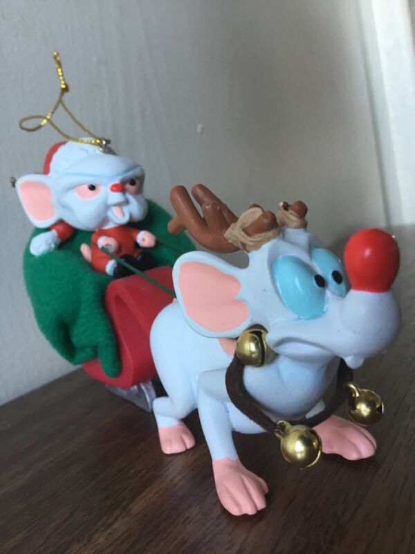PINKEY AND THE BRAIN CHRISTMAS ORNAMENT SLEIGH DELUXE T