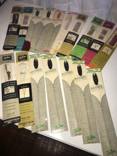 Lot of 17 Vintage Zippers Mix Color Size Type Talon Crown J