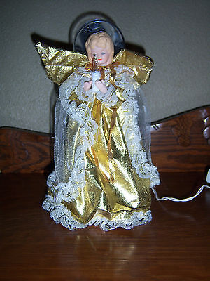 """GOLD  ANGEL CHRISTMAS TREE TOPPER WHITE  LIGHTED FABRIC GOWN 10"""""""