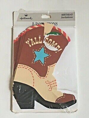 Hallmark Birthday Party 8 Invitations Cowboy Boot boys western theme (Country Western Birthday Invitations)