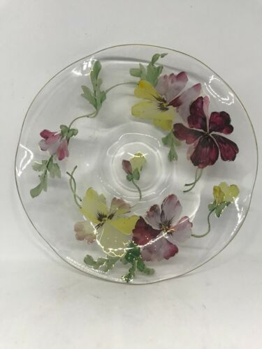 "Mt Washington Napoli Art Glass Pansy Decorated Low Bowl 7 1/4"""