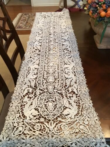 Beautiful Antique Needle Lace Table Runner