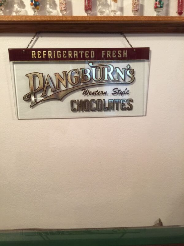 Pangburns Chocolates Reverse Glass Gold Leaf Sign