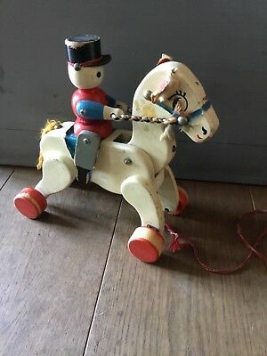 lovely vintage wooden pull toy, horse rider