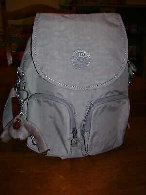Kipling Women's Firefly Up Backpack - Clouded Sky (Light Grey) with Monkey NWT