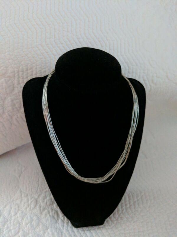 "Vintage Carolyn Pollack Sterling Silver Liquid 10 Strands Heishi Necklace 17.5 """