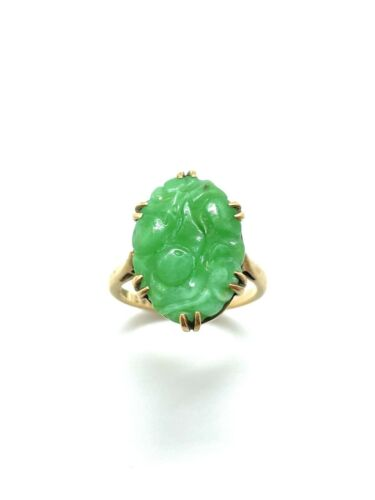 Antique Art Deco Era Chinese 9ct Gold Carved Nephrite Jade Stone Ring Size – M
