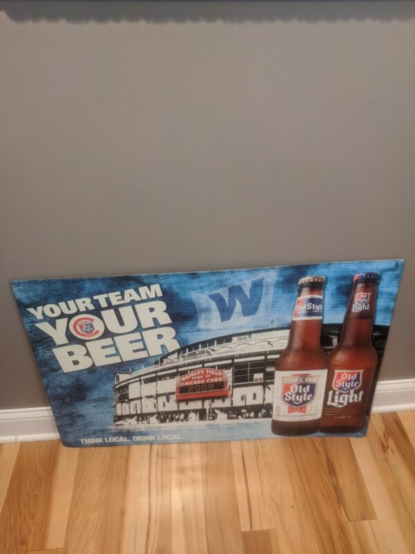 36x27 Chicago Cubs Old Style Beer Sign Tin Metal Bar Wrigley Advertisement