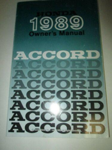 1989 Honda Accord Owners Manual