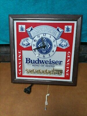Vintage 80s Budweiser King of Beers Electric Lighted Sign Clock