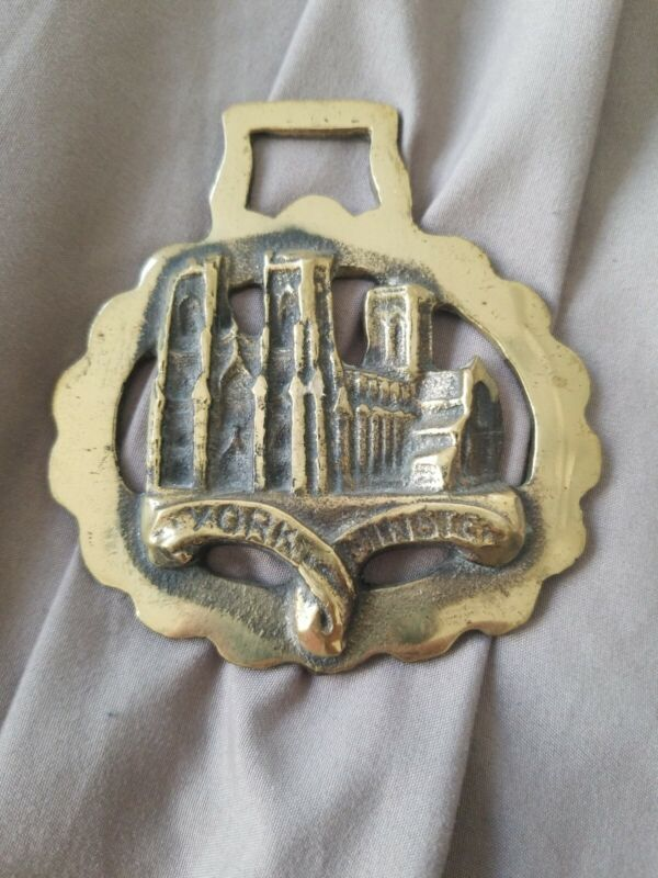 "Vintage HORSE BRASS English Harness Medallions Signed ""YORK MINSTER"" saddle"