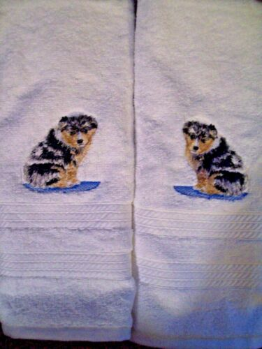 AUSTRALIAN SHEPHERD Breed Bathroom SET OF 2 HAND TOWELS EMBROIDERED PERSONALIZED