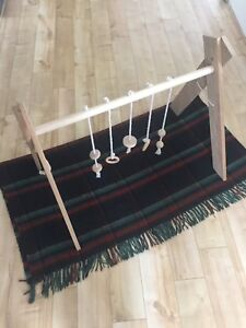 Handmade natural wooden baby play gym