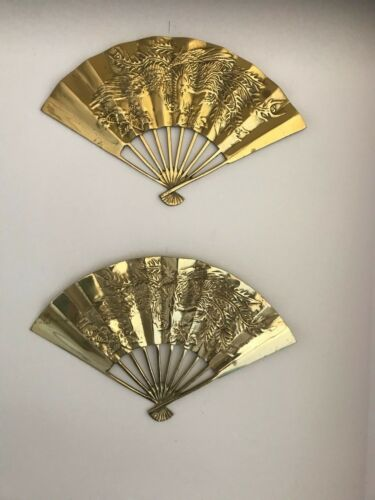 """Pair of  Vintage Chinese  Solid Brass Fan Peacocks 11 1/2""""."""