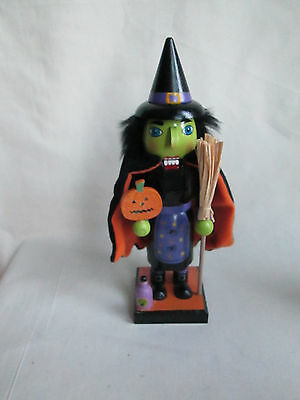 """10"""" Wooden Halloween Witch Nutcracker with Pumpkin, Broom & Witches Brew,  New"""