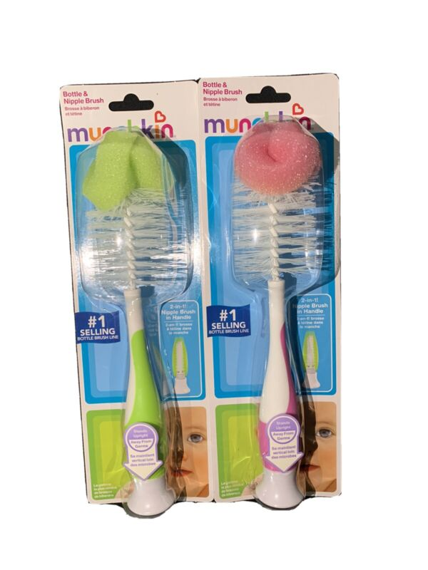 Munchkin Bottle And Nipple Brush Pink & Green (2-Pack)