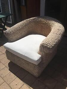 Large Old Woven Seagrass Outdoor Armchair Beckenham Gosnells Area Preview