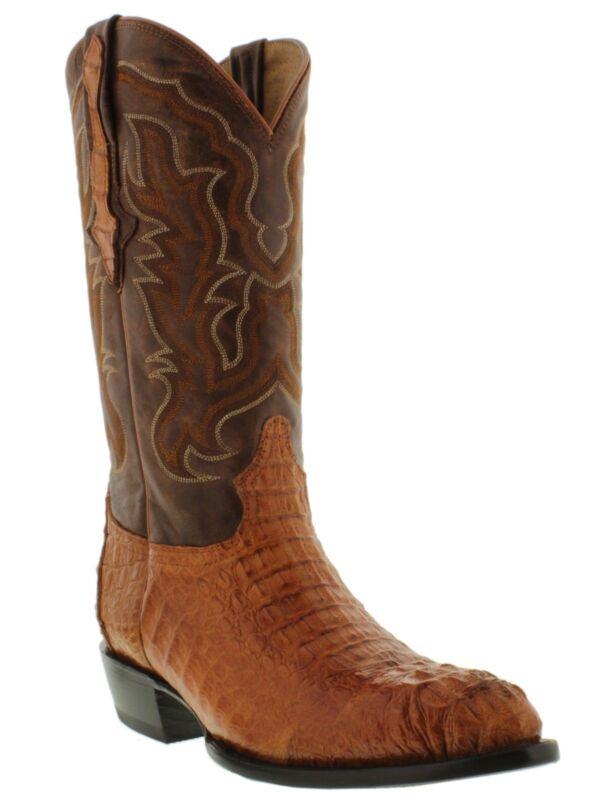 Mens, Cognac, Exotic, Crocodile, Skin, Cowboy, Boots, Hornback, Western, Wear, Pointed, Toe