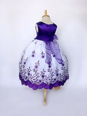 Purple Floral Embroidery Flower Girl Dress Graduation Wedding 2 4 6 8 10 12 14