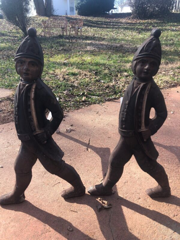 Extremely Rare Set Of Hessian Soldier Cast Iron Andirons! Early 1900s