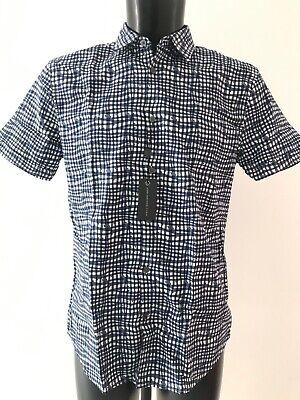 John Varvatos USA Blue & White Patterned S/S Shirt Size M RRP £100