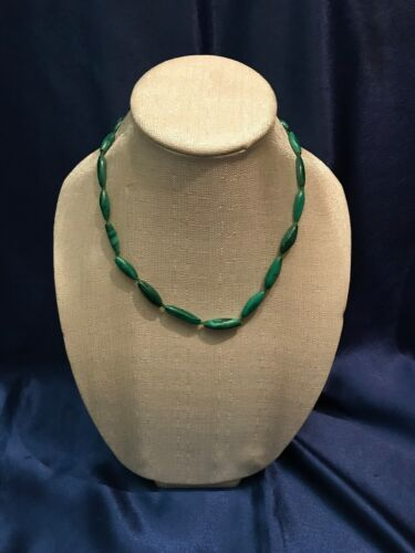SUPER RARE Vintage MALACHITE Long Bead Necklace/Choker From Europe #2 - Antique