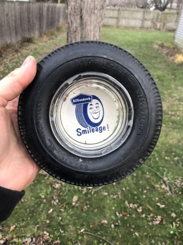 Rare VTG 50s BF Goodrich Tires Silvertown Rubber Tire Glass Ashtray Smileage!