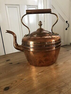 Vintage Small Copper Kettle With Acorn Top
