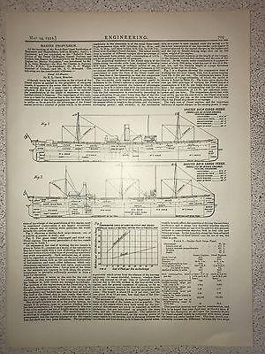 Shelter Deck Cargo Vessel: Powered By Steam: 1912 Engineering Magazine Print